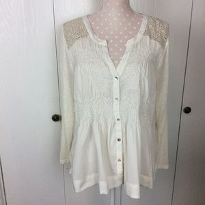Anthropologie Meadow Rue Cream Smocked Top Size L